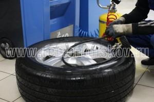 Процесс заполнения шины азотом.